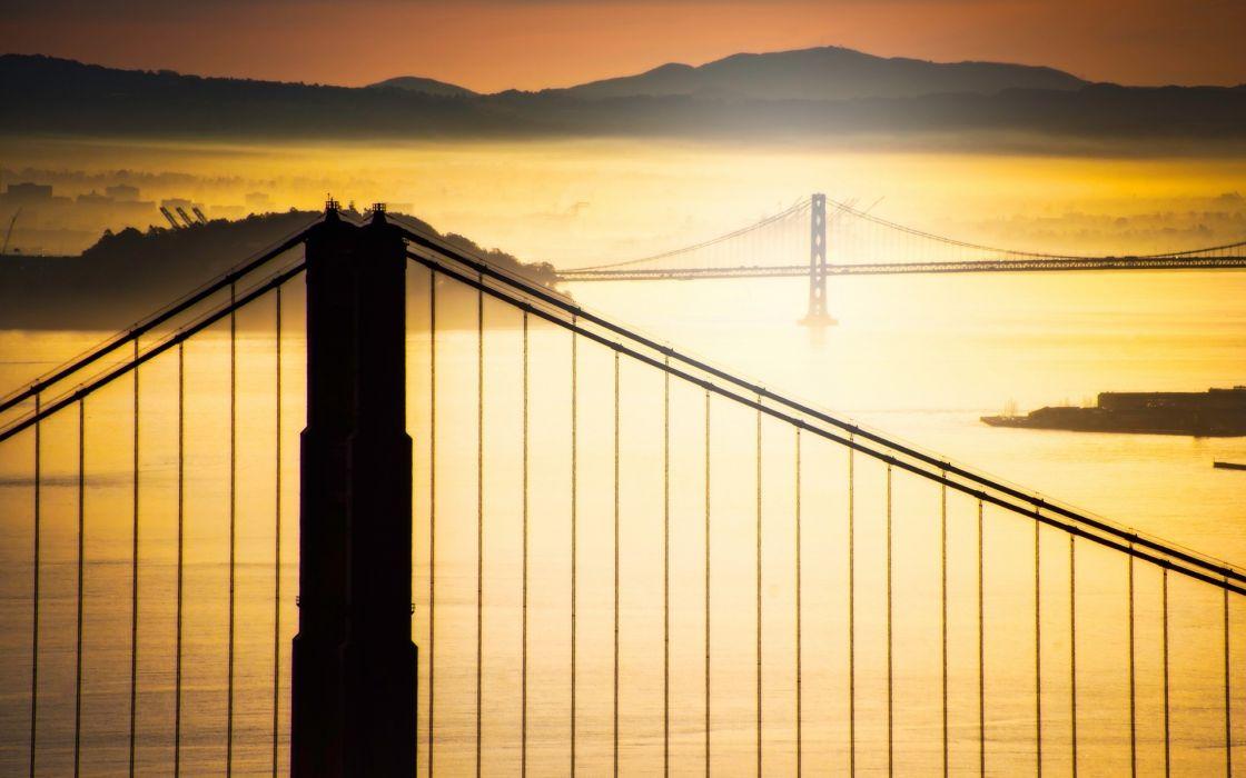 Sunrise mountains architecture silhouette bridges california san francisco wallpaper