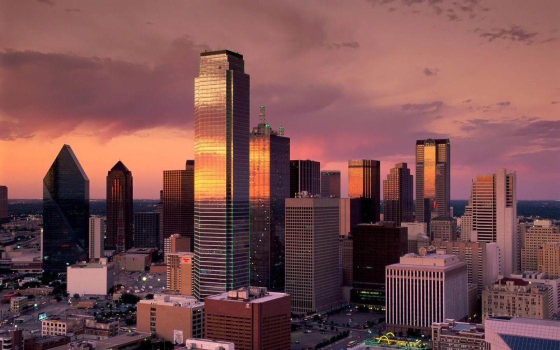 Sunset cityscapes buildings dallas wallpaper