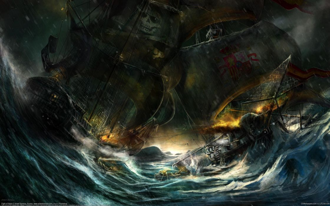 Rain waves storm ships pirates battles artwork wallpaper
