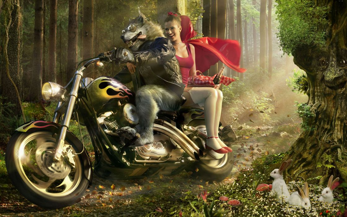 Little red riding hood realistic vehicles motorbikes wallpaper