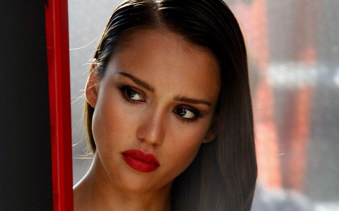 Women jessica alba actress faces red lips wallpaper