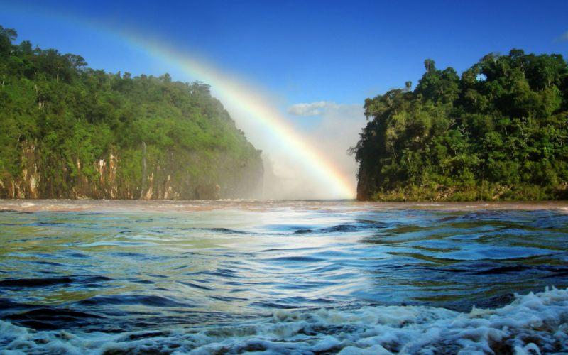 Landscapes forest rainbows wallpaper