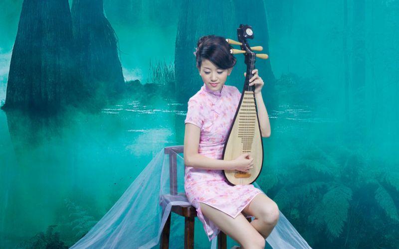 Women trees asians rivers wallpaper