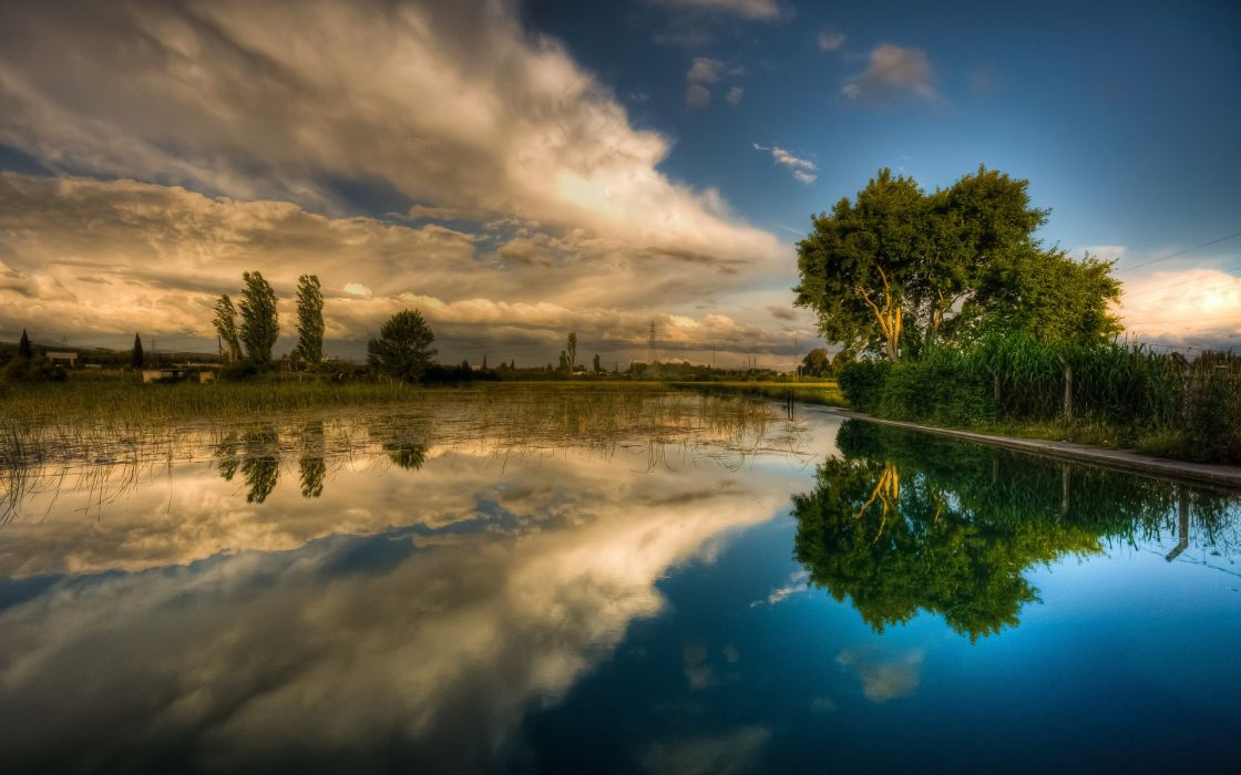 Water clouds landscapes trees reflections wallpaper