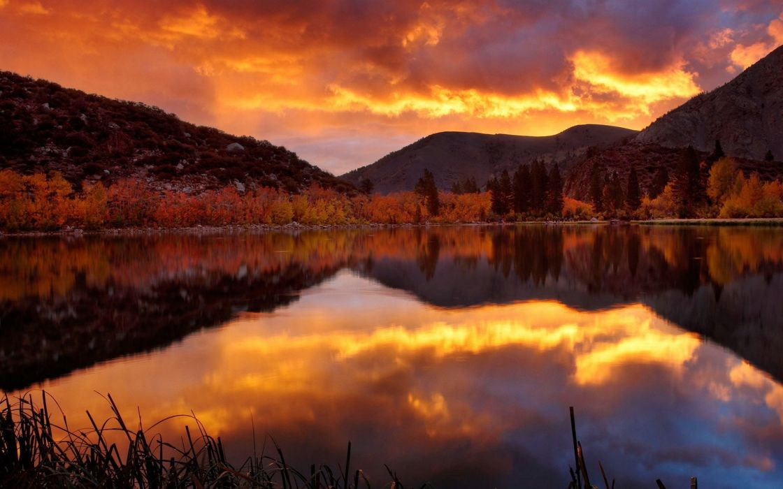 Landscapes nature autumn (season) reflections wallpaper