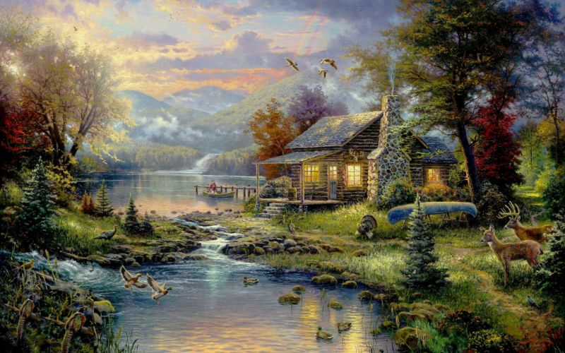 Paintings nature birds animals houses rainbows artwork wallpaper