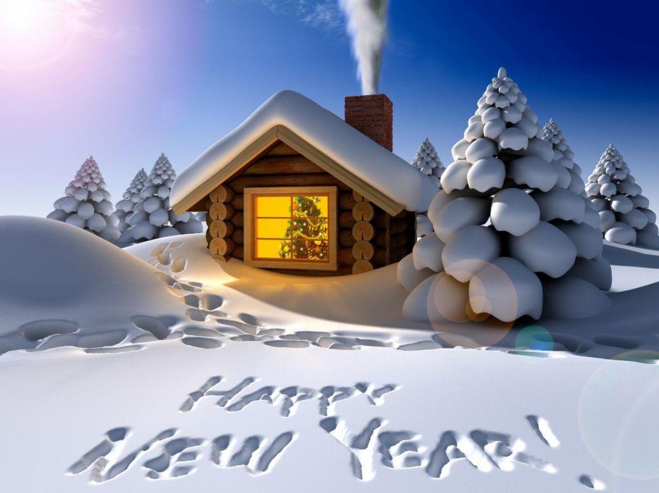 Snow new year cabin wallpaper