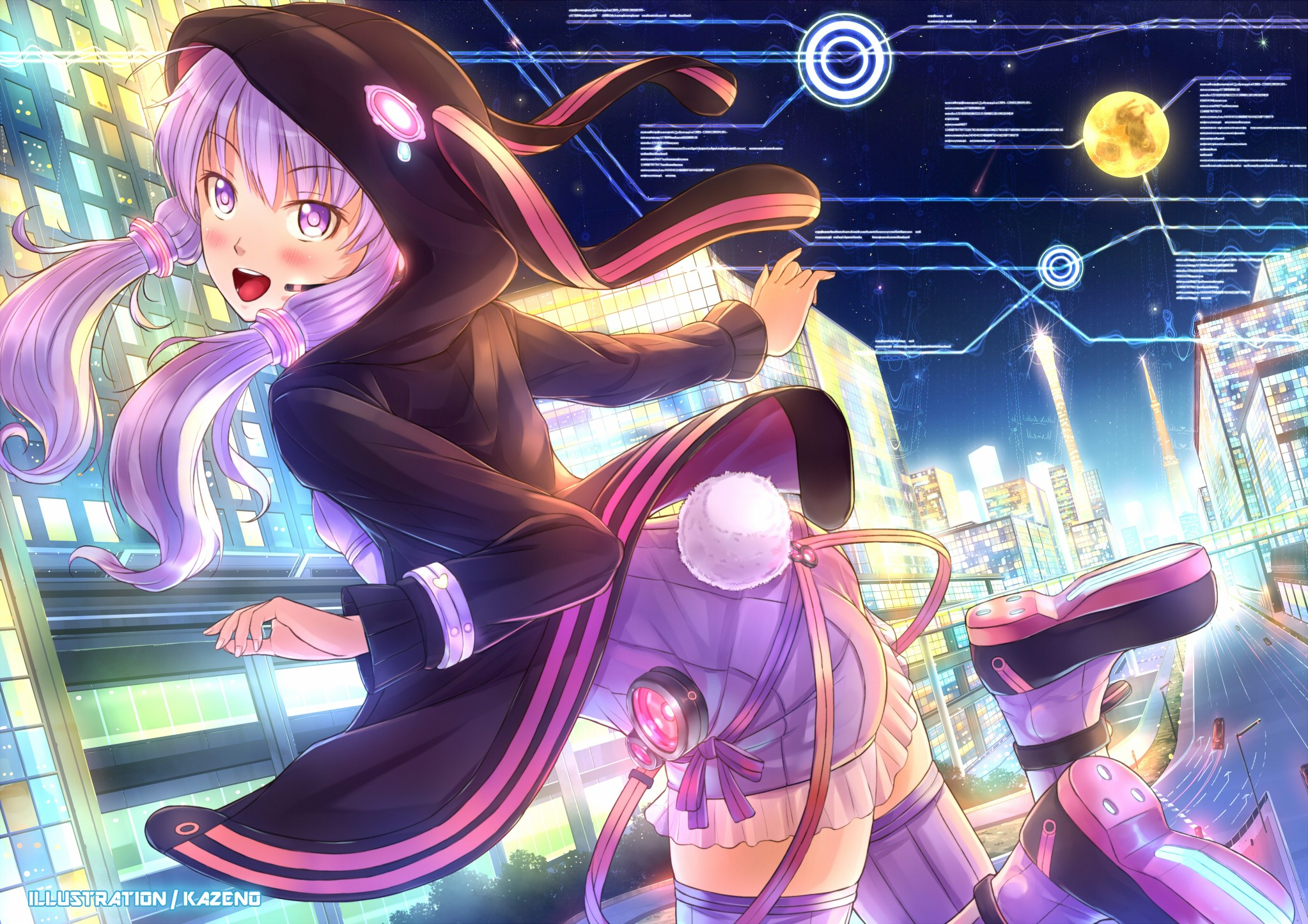 Tails cityscapes vocaloid night stars texts moon headset jumping buildings bunny girls purple hair animal ears