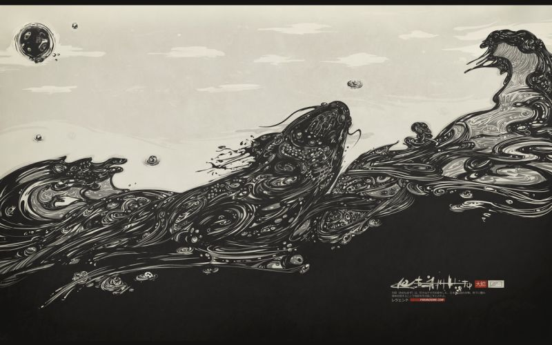 Waves japanese monochrome wallpaper