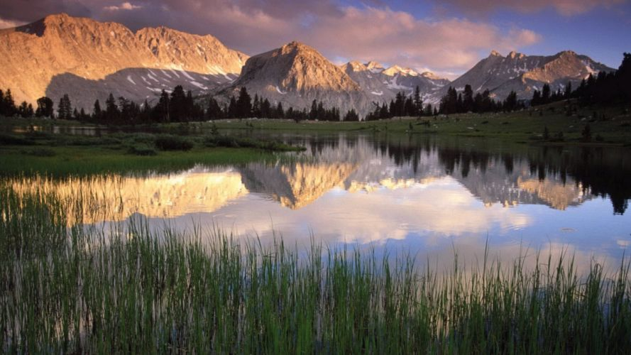 Mountains landscapes nature lakes reflections reeds wallpaper