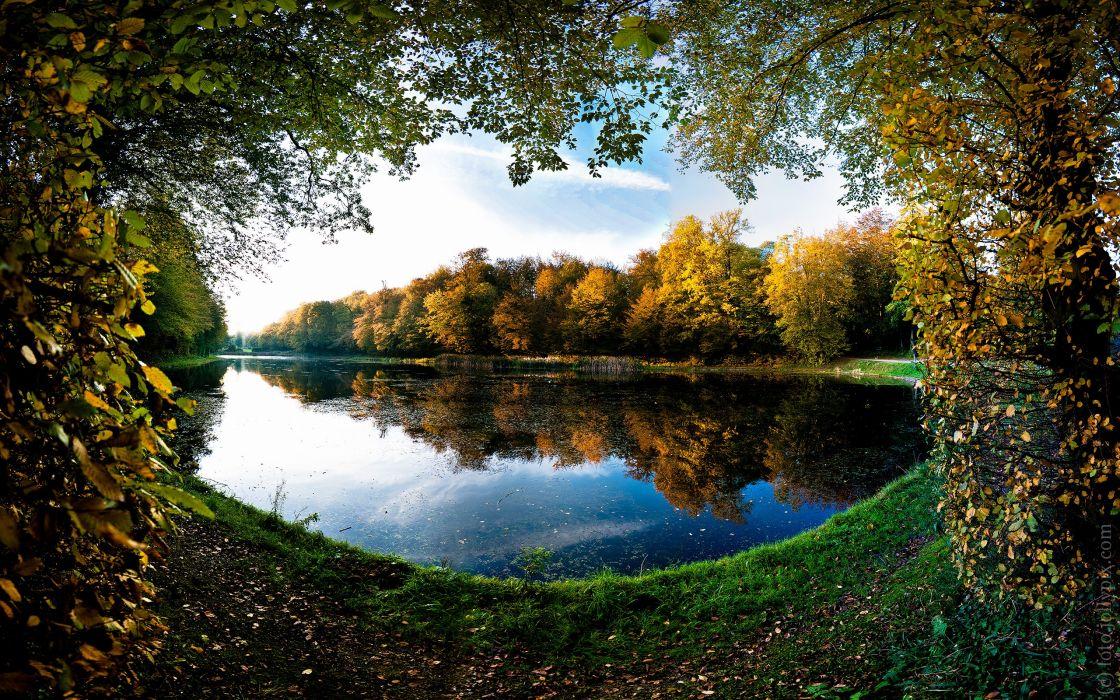 Landscapes trees autumn (season) leaves pond frames lakes wallpaper