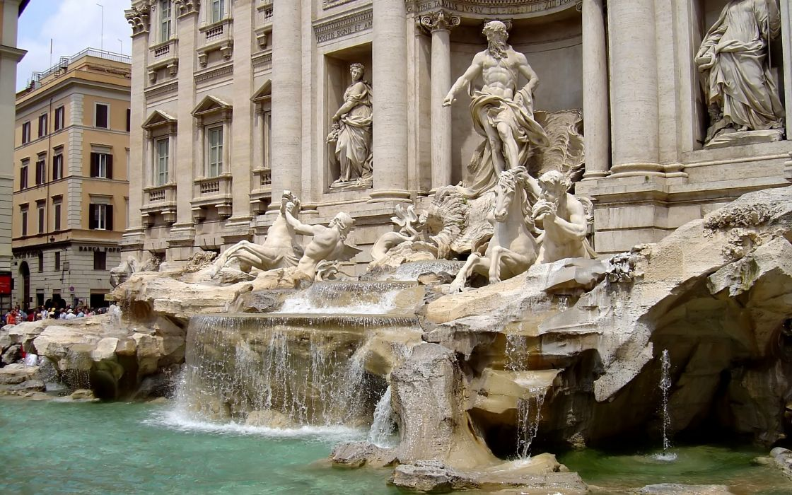 Sculpture rome italy trevi fountain wallpaper