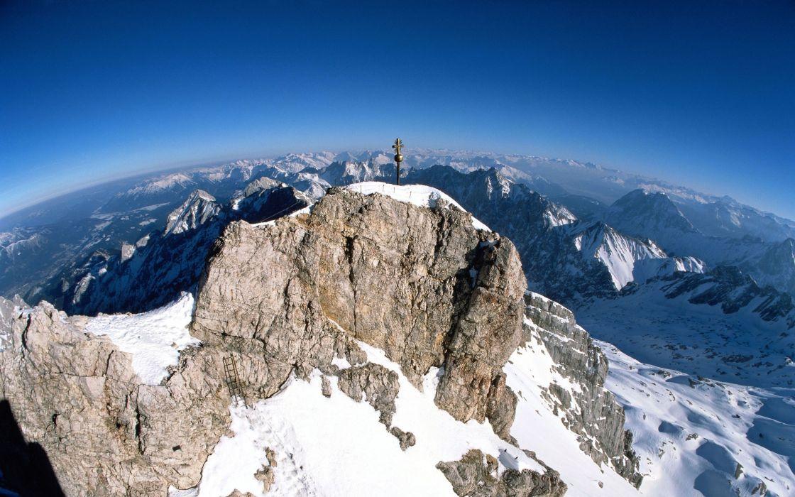 Mountains snow cross rock christian wallpaper
