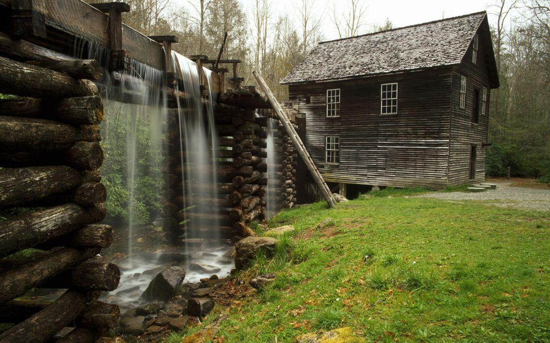 Nature house waterfalls wallpaper