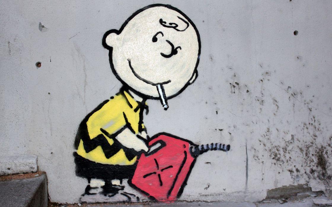 Street art charlie brown peanuts (comic strip) wallpaper