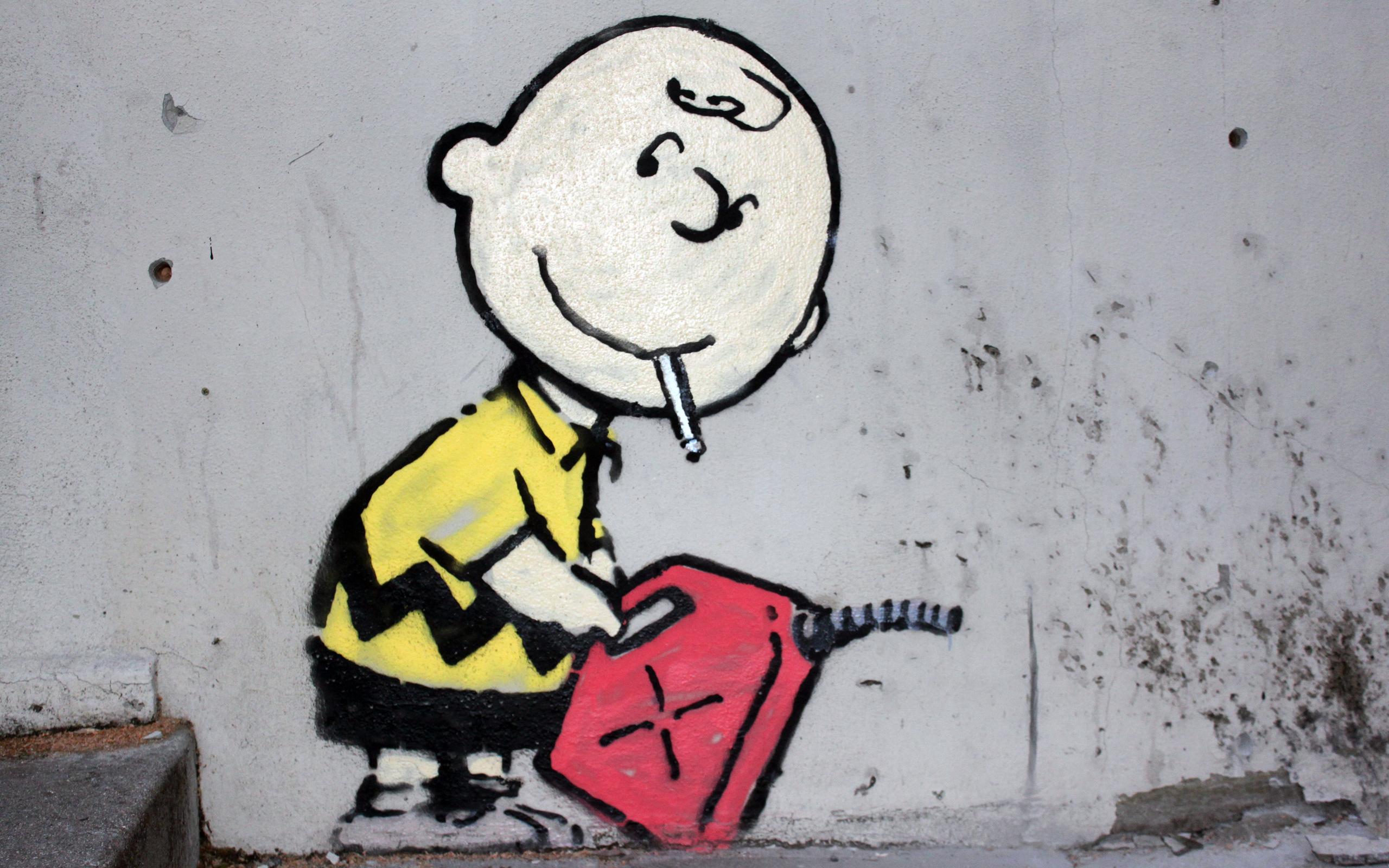 Street Art Charlie Brown Peanuts Comic Strip Wallpaper