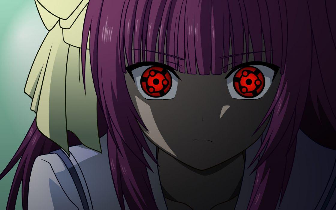 Angel beats sharingan purple hair red eyes mangekyou sharingan nakamura yuri wallpaper