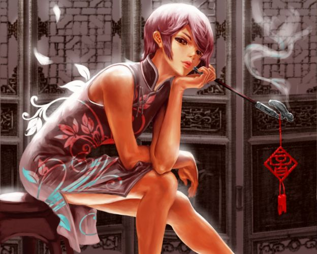 Brunettes smoking vocaloid room brown eyes short hair sitting pipes chinese dress classy meiko anime girls chinese clothes wallpaper