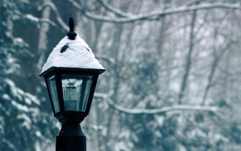 Winter (season) snow lamp posts wallpaper