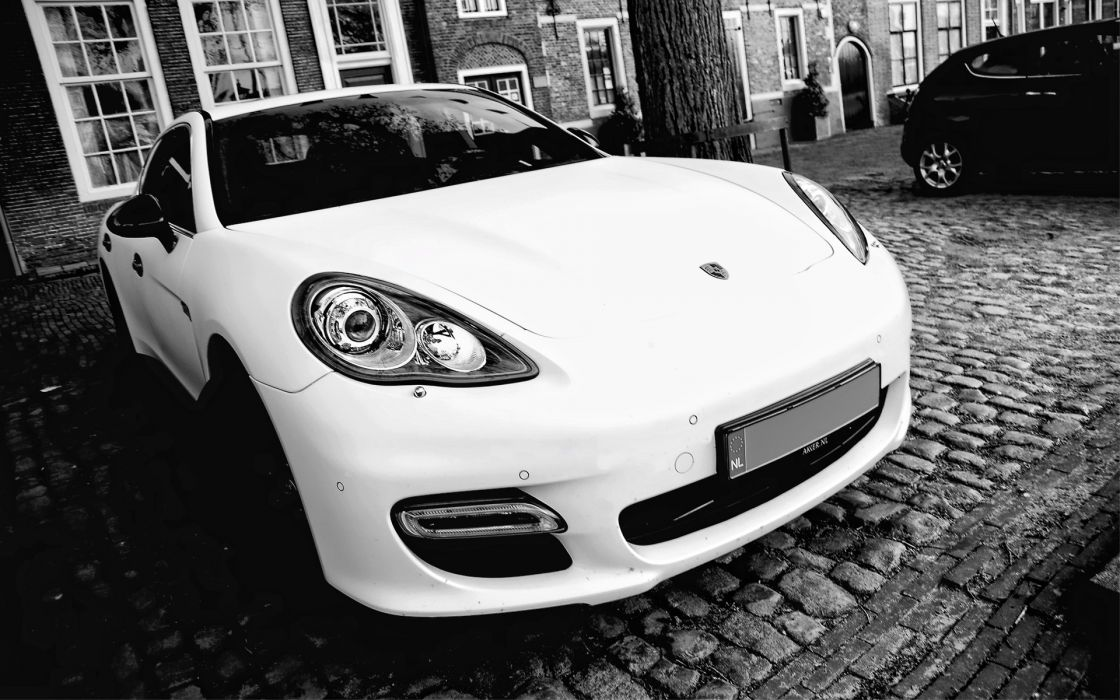 Black and white porsche cars wallpaper