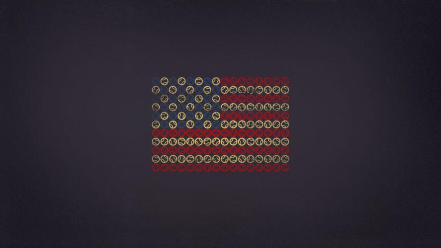 Minimalistic flags us open wallpaper
