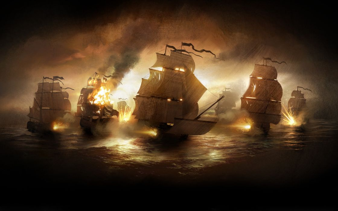 War ships cannons digital art 3d wallpaper
