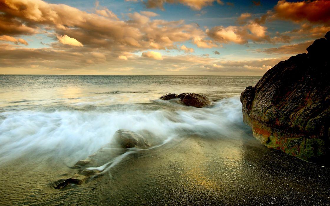 Sunset clouds landscapes nature coast beach oceans wallpaper