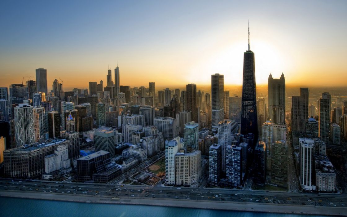 Cityscapes skylines chicago overview wallpaper
