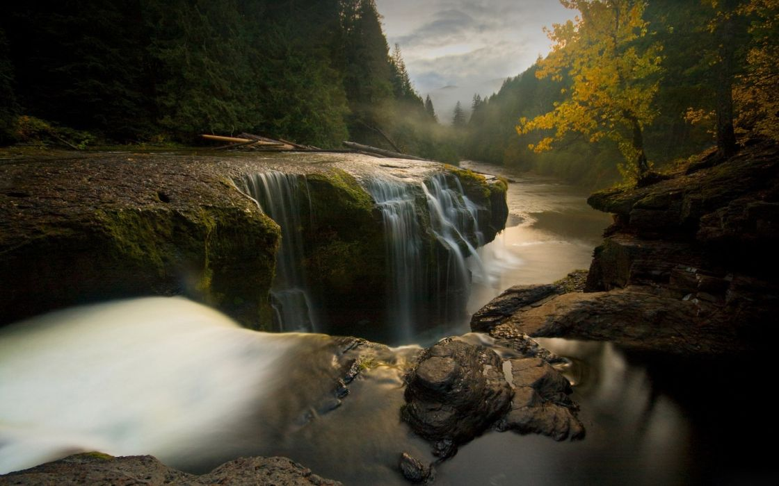 Landscapes forest waterfalls rivers wallpaper
