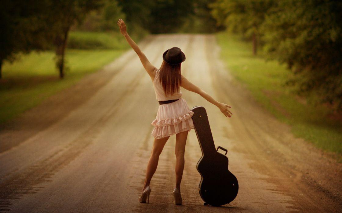 Women redheads roads backview women white dress hats arms raised guitar cases wallpaper