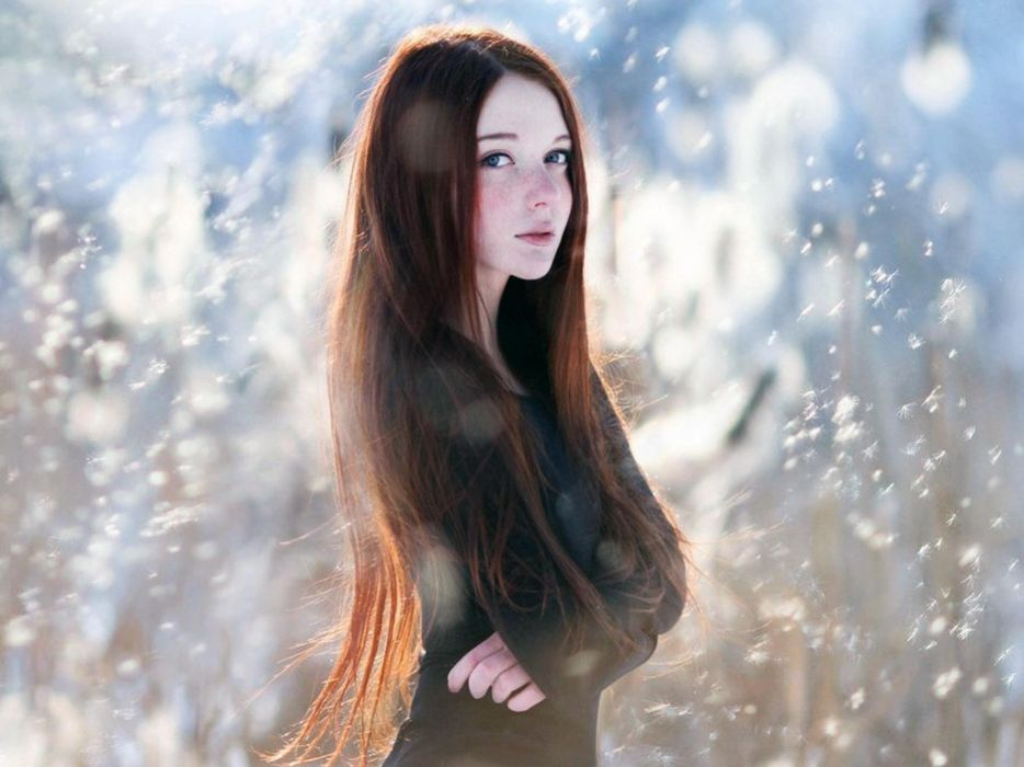 Women snow redheads cold freckles winter wallpaper