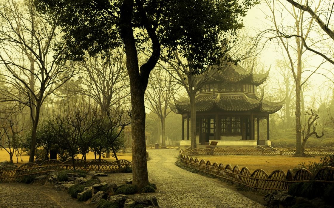 Trees architecture fog mist asia oriental parks wallpaper