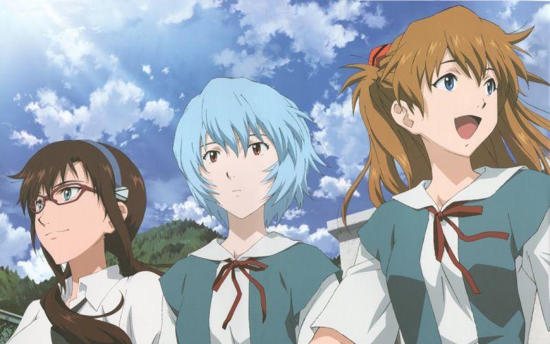 School uniforms ayanami rei neon genesis evangelion makinami mari illustrious asuka langley soryu meganekko anime tsundere anime girls clear blue sky wallpaper