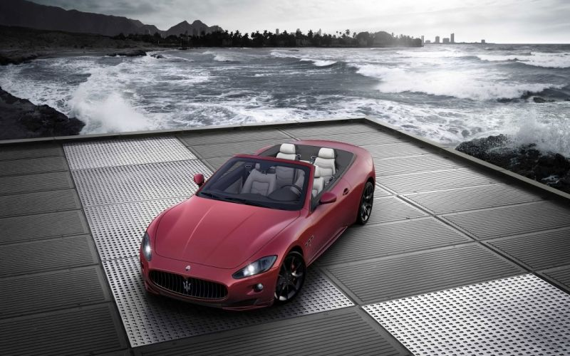 Water coast cars maserati vehicles convertible wallpaper
