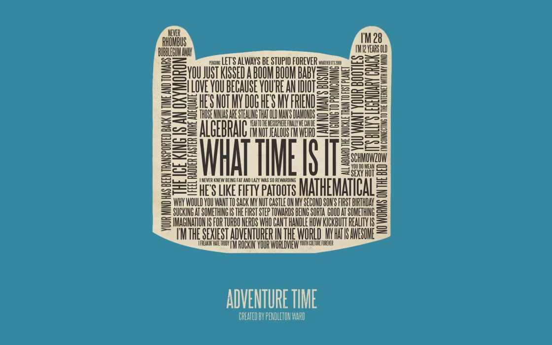 Typography adventure time finn the human wallpaper