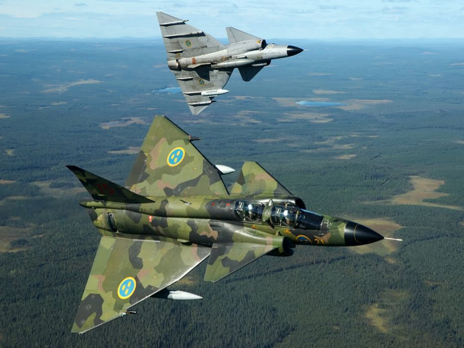 Aircraft military viggen swedish air force fighter jet wallpaper
