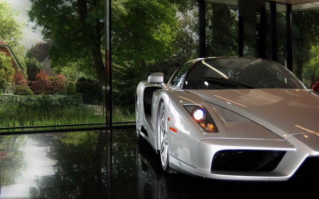 Cars gray scenic vehicles ferrari enzo wallpaper