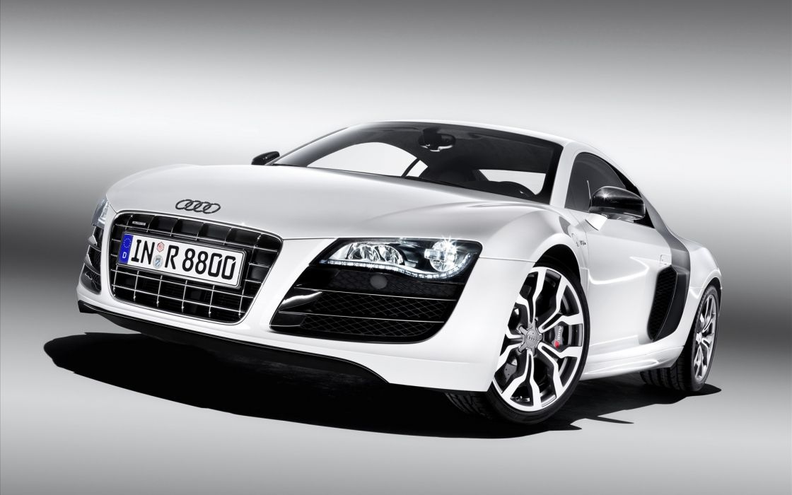 White cars audi audi r8 front view wallpaper