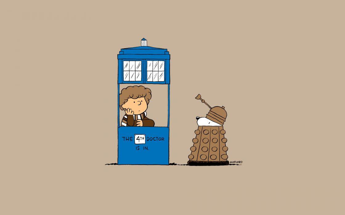 Tardis dalek fourth doctor doctor who peanuts (comic strip) wallpaper
