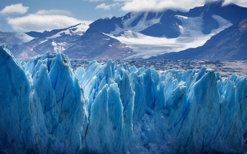 Ice mountains clouds nature snow glacier wallpaper