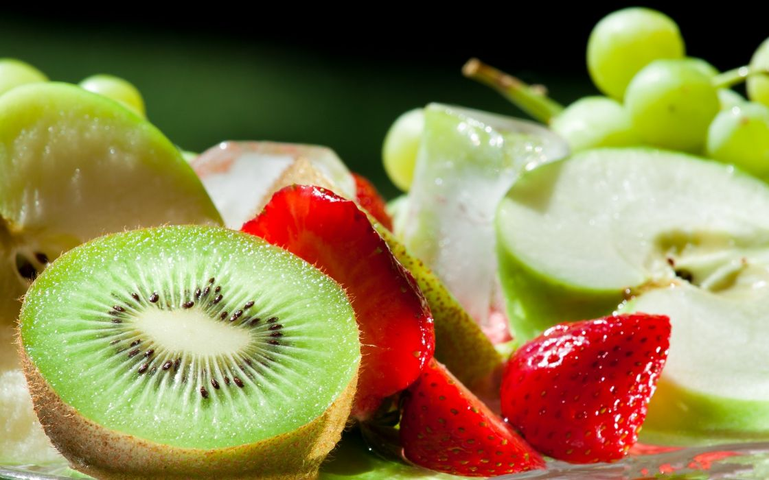 Fruits kiwi strawberries apples wallpaper
