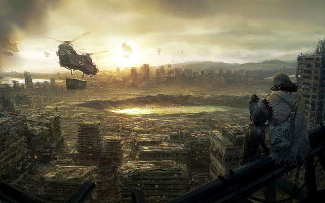 Apocalyptic futuristic concept art marek okon wallpaper