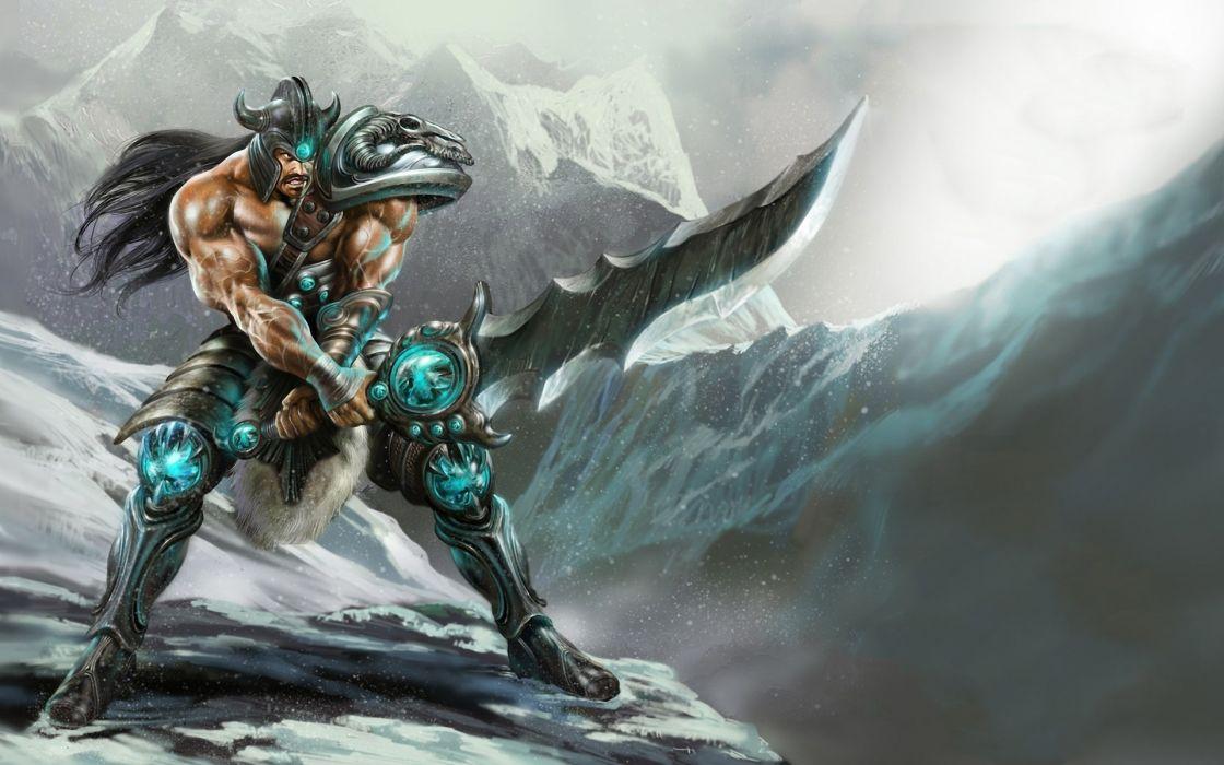 Mountains league of legends warriors swords tryndamere wallpaper