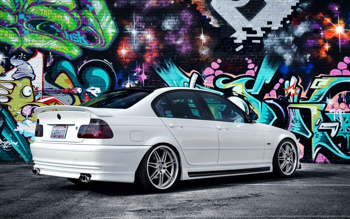 Bmw multicolor cats graffiti tuning coupe rims bmw 3 series white cars bmw e46 colors wallpaper