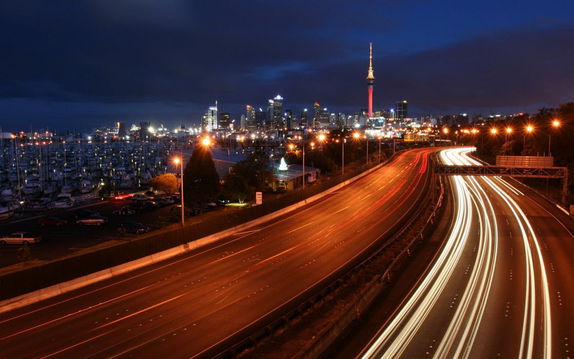Cityscapes highway traffic lights long exposure driving wallpaper