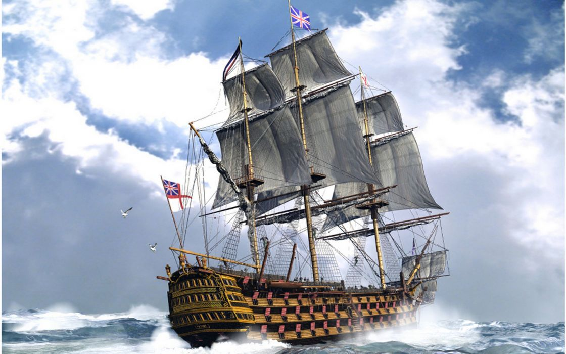 Ocean ships britain flags cannons british sail ship sails wallpaper