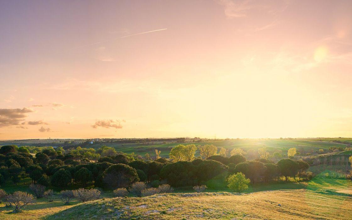 Sunset landscapes nature hills wallpaper