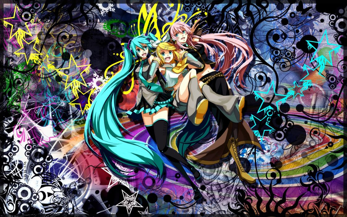 Headphones boots blondes abstract vocaloid multicolor stars hatsune miku tie skirts megurine luka long hair kagamine rin headphones girl pink hair short hair thigh highs twintails smiling bows armpits op wallpaper