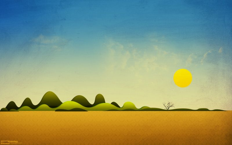 Paintings mountains sun fields skyscapes wallpaper