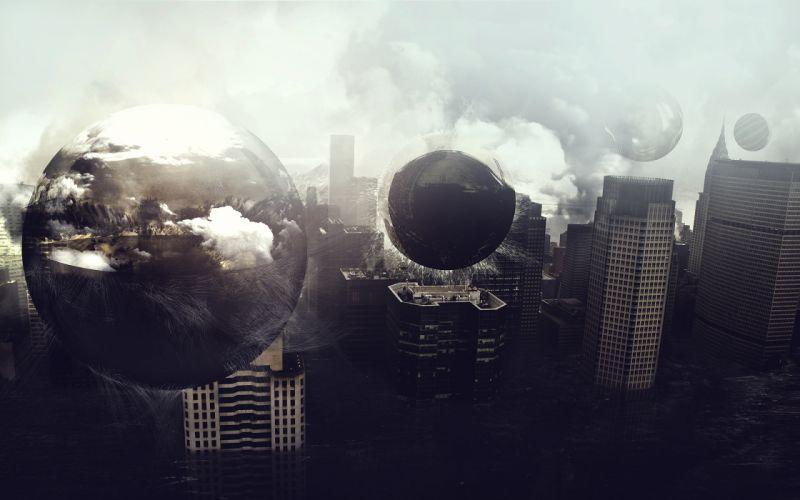 Digital art photomanipulations cities wallpaper